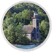 Grand Island East Channel Light Round Beach Towel