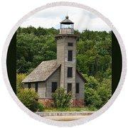 Grand Island Lighthouse Round Beach Towel