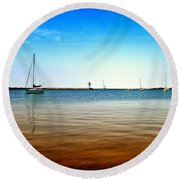 Grand Marais Harbor Round Beach Towel