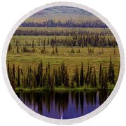 Grand Mountain Reflections Round Beach Towel