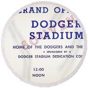 Grand Opening Dodger Stadium Ticket Stub 1962 Round Beach Towel
