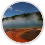 Grand Prismatic Spring At Yellowstone's Midway Geyser Basin Round Beach Towel
