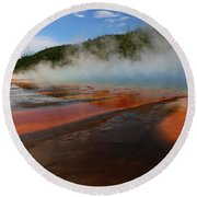 Grand Prismatic Spring Colors Round Beach Towel