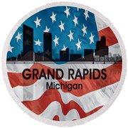 Grand Rapids Mi American Flag Squared Round Beach Towel