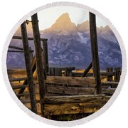 Grand Teton Framed Round Beach Towel