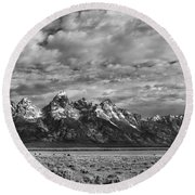 Grand Teton Majesty Round Beach Towel by Sandra Bronstein