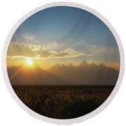 Grand Teton Open Plains Sunset Round Beach Towel