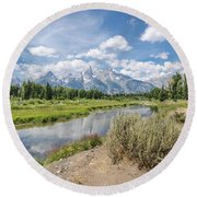 Grand Teton View No.1 Round Beach Towel by Margaret Pitcher