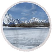 Grand Tetons And Snake River From Oxbow Bend 16-9 Round Beach Towel