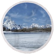 Grand Tetons And Snake River From Oxbow Bend Round Beach Towel
