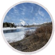 Grand Tetons From Oxbow Bend At A Distance Round Beach Towel