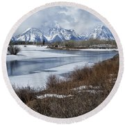 Grand Tetons From Oxbow Bend Round Beach Towel