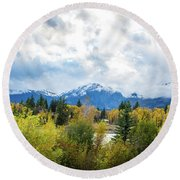 Grand Tetons In The Fall Round Beach Towel