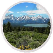 Grand Tetons Round Beach Towel