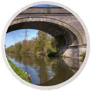 Grand Union Canal Bridge 181 Round Beach Towel