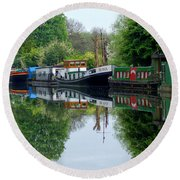 Grand Union Canal Cowley West London Round Beach Towel