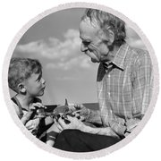 Grandfather And Boy With Model Plane Round Beach Towel