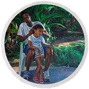 Grandfather And Child Round Beach Towel