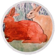 Grandma's Bunnies Round Beach Towel