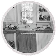 Grandma's Kitchen B W Round Beach Towel