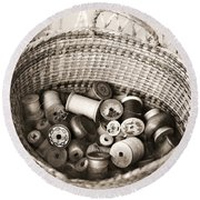 Grandma's Sewing Basket Round Beach Towel