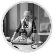 Grandmother And Granddaughter Baking Round Beach Towel
