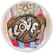 Grandpa Hippie Round Beach Towel