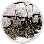 Granite And Seaweed Round Beach Towel