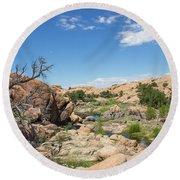 Granite Dells Rocky Terrain  Round Beach Towel