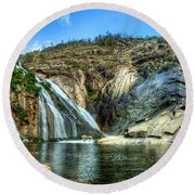 Granite Mountain Waterfall Panorama Round Beach Towel