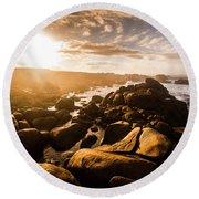 Granville Harbour Tasmania Sunrise Round Beach Towel
