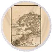 Grape Arbor On Brown Round Beach Towel