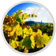 Grape Leaves And The Sky Round Beach Towel by Elaine Plesser