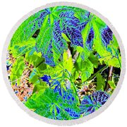 Grape Leaves Round Beach Towel
