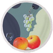 Grapes And Apples Round Beach Towel