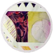 Grapes And Cheese Wedges Round Beach Towel