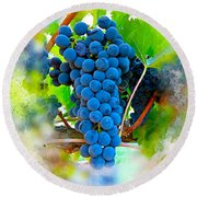Grapes Of The Vine Round Beach Towel