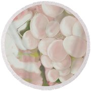 Grapes Powder Pink Round Beach Towel