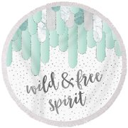 Graphic Art Feathers Wild And Free Spirit - Mint Round Beach Towel