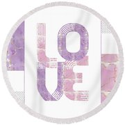 Graphic Art Gold Love - Rose And Violet Round Beach Towel