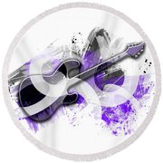 Graphic Art Guitar - Purple Round Beach Towel