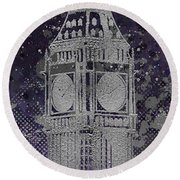 Graphic Art London Big Ben - Ultraviolet And Silver Round Beach Towel