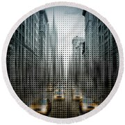 Graphic Art Nyc 5th Avenue Traffic V Round Beach Towel