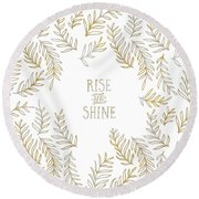 Graphic Art Rise And Shine - Gold And Marble Round Beach Towel