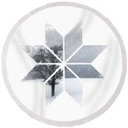 Graphic Art Snowflake Lonely Tree Round Beach Towel