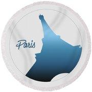 Graphic Style Paris Eiffel Tower Blue Round Beach Towel