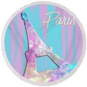 Graphic Style Paris Eiffel Tower Pink Round Beach Towel by Melanie Viola