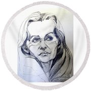 Graphite Portrait Sketch Of A Woman With Glasses Round Beach Towel