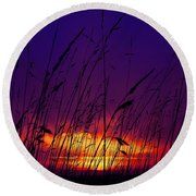 Grass At Dusk Round Beach Towel