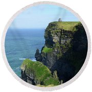 Grass Growing Along The Cliff's Of Moher In Ireland Round Beach Towel